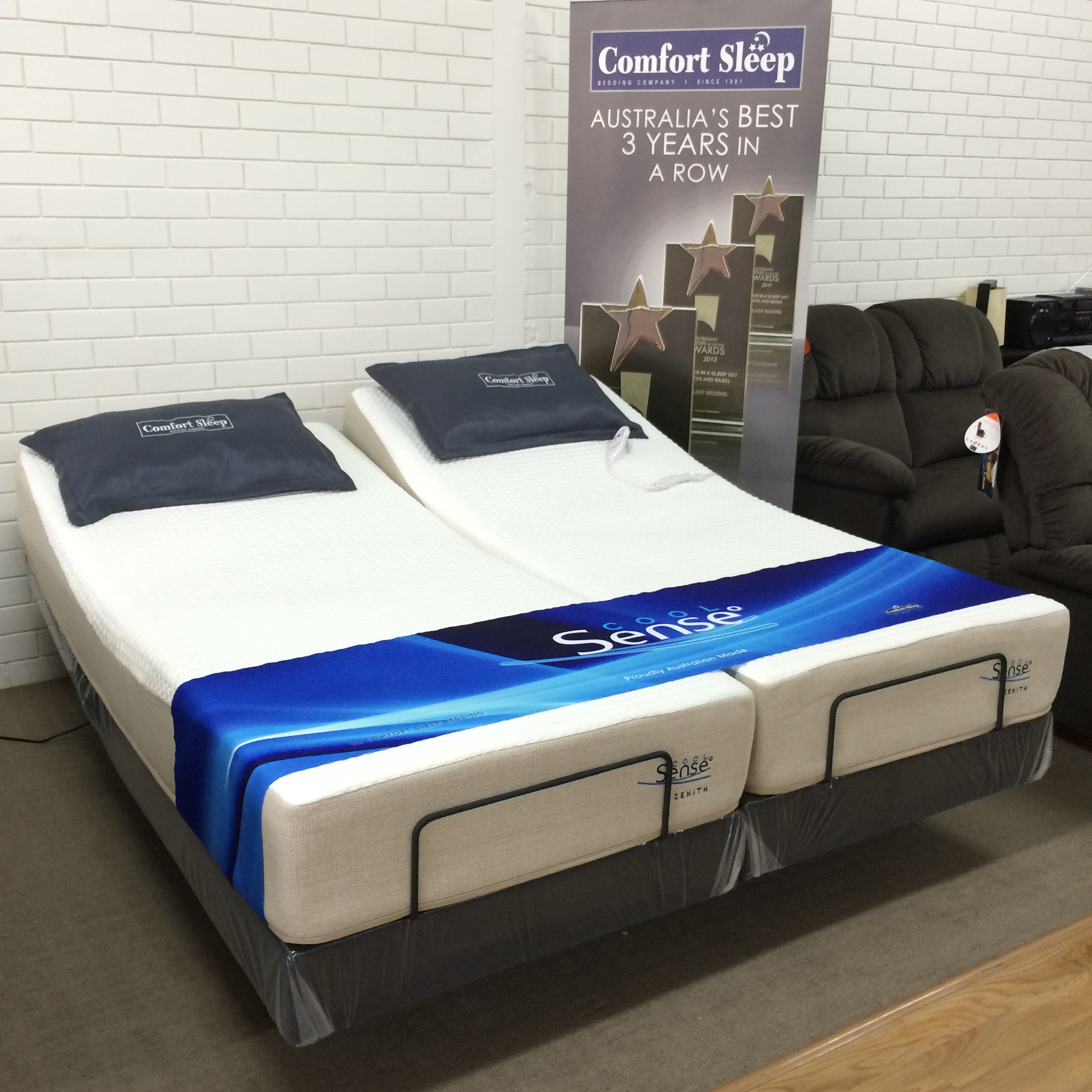 Reverie adjustable bed 7s textured motionflex base with zenith cool sense mattress split king Mattress king